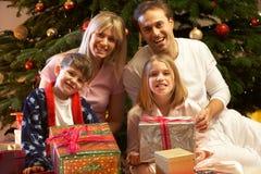 圣诞节系列前面开张的当前结构树 免版税库存图片