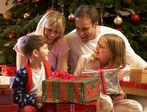 圣诞节系列前面开张的当前结构树 库存图片