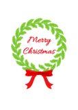 圣诞节红色丝带花圈 免版税库存照片
