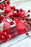 圣诞节红色丝带 免版税图库摄影