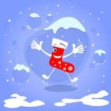 圣诞节红色袜子跳跃激动的微笑动画片 图库摄影