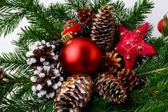 圣诞节红色装饰品、金黄杉木锥体和土气星 免版税库存照片