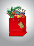 圣诞节红色购物袋 库存图片