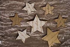 圣诞节织品金黄星形 免版税图库摄影