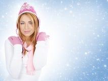 圣诞节给女孩纵向年轻人穿衣 免版税库存照片