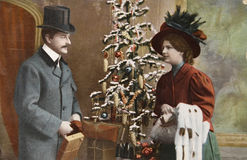 圣诞节维多利亚女王时代的著名人物&# 免版税库存照片
