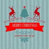 圣诞节绿松石与鹿的颜色明信片 免版税图库摄影