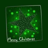 圣诞节绿色例证明信片星形 皇族释放例证