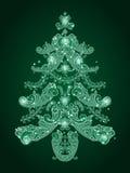 圣诞节绿色结构树 免版税库存图片