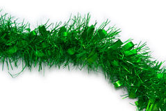 圣诞节绿色闪亮金属片 免版税库存照片