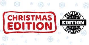 圣诞节编辑难看的东西和干净的邮票封印圣诞节的 库存例证