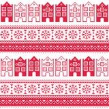 圣诞节编织了与城内住宅, adn雪花的无缝的样式 库存图片