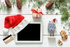 圣诞节网上购物背景 库存图片