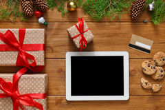 圣诞节网上购物背景 图库摄影