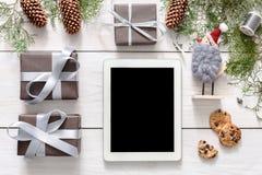 圣诞节网上购物背景 免版税图库摄影