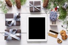 圣诞节网上购物背景 免版税库存图片