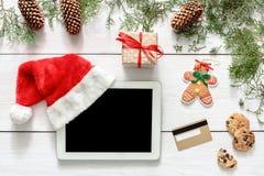圣诞节网上购物背景 免版税库存照片