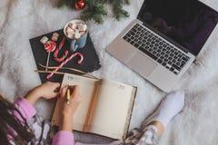 圣诞节网上购物顶视图 免版税库存照片