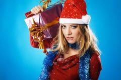 圣诞节罪恶女孩 免版税图库摄影
