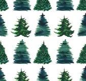 圣诞节美丽的抽象图表艺术性的美妙的明亮的假日冬天绿色云杉树仿造水彩手illustrat 皇族释放例证