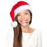 圣诞节耳机妇女 免版税库存图片