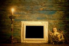 圣诞节耶稣葡萄酒照片框架 库存照片