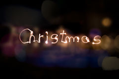 圣诞节聚光灯文字 库存照片
