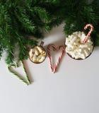 圣诞节背景、贺卡与一杯咖啡或巧克力用蛋白软糖、棒棒糖、一块红色板材和树枝 免版税库存照片