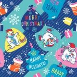 圣诞节背景。雪人无缝的样式。 免版税库存照片
