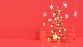 圣诞节背景新年假日概念金属金子抽象圣诞树红色场面  库存例证