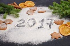 圣诞节背景用冷杉分支,姜饼曲奇饼、香料和干桔子 免版税图库摄影