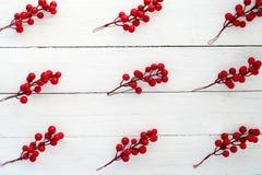 圣诞节背景用在白色木板的霍莉莓果 免版税库存照片