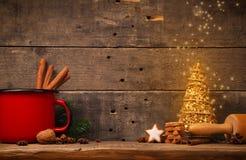 圣诞节背景用星状曲奇饼 库存照片