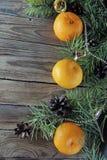 圣诞节背景用蜜桔 库存照片