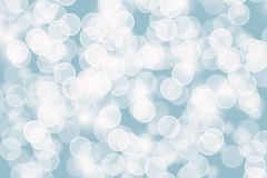圣诞节背景的抽象蓝色Bokeh圈子 库存图片