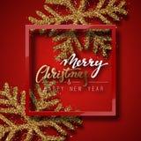 圣诞节背景红色,与美丽的明亮的雪花现实亮光闪烁 免版税库存图片