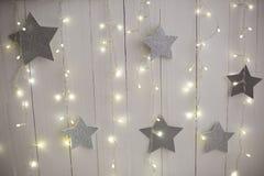圣诞节背景纹理 银色星 免版税库存图片