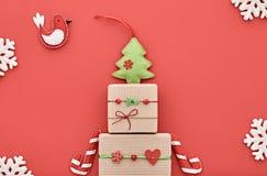 圣诞节背景装饰 手工制造的设计 免版税库存图片