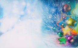 圣诞节背景雪花,雪,圣诞树装饰 图库摄影