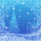 圣诞节背景,冬天森林 免版税库存图片