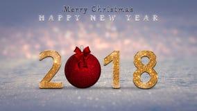 圣诞节背景,卡片,与金黄的例证,闪烁2018个数字,红色圣诞节中看不中用的物品,球 库存图片