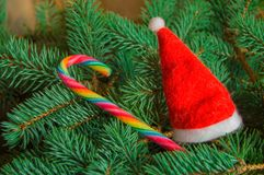 圣诞节背景,红色圣诞老人帽子,说谎在云杉的分支的糖果棍子 库存图片