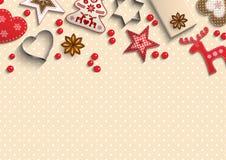 圣诞节背景,说谎在圆点的小斯堪的纳维亚被称呼的装饰仿造了背景,例证 向量例证