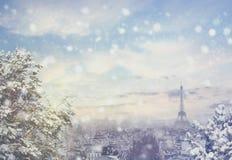 圣诞节背景:巴黎都市风景鸟瞰图与埃佛尔铁塔的在冬天日落在法国 库存图片