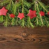 圣诞节背景 杉树分支和在a的红色星诗歌选 免版税图库摄影