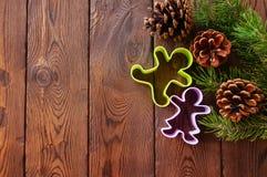圣诞节背景 杉树分支,锥体和姜饼裁减 库存图片