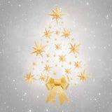 圣诞节背景-树由星制成在银色背景 免版税库存图片