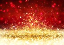 圣诞节背景-金黄闪烁 库存图片