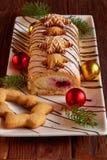 圣诞节自创卷蛋糕和姜饼 库存图片