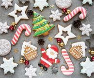 圣诞节自创姜饼曲奇饼 免版税库存图片
